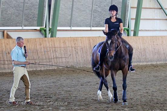 Tässä kuvassa takaosan siirtoa ympyrän ulkopuolelle tehdään eversti Carden avustuksella. Liike ei vielä ole ehtinyt vaikuttaa hevosen liikkumistapaan, luultavasti jo seuraavassa askeleessa hevonen pyrkisi venyttämään ylälinjaansa kohti kuolaintuntumaa.